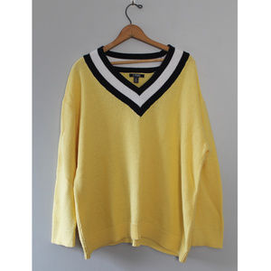 Chaps 3X Vintage Preppy Sweater Yellow Blue